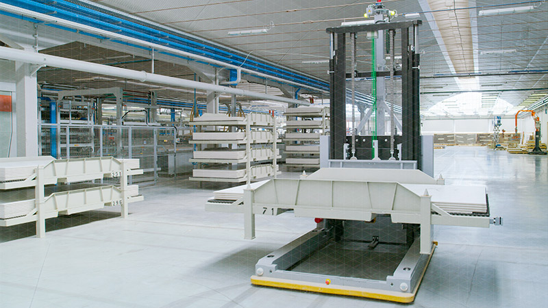 Tiles storage, handling, finishing, cutting, sorting and packaging